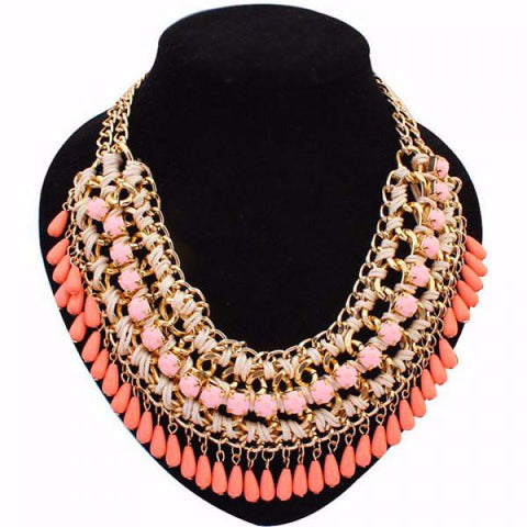 Bohemia Style Drop Beads Weaved Necklace by Pesci Moda
