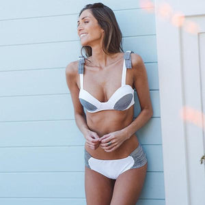 Retro Blue & White Striped Push Up Bikini Set