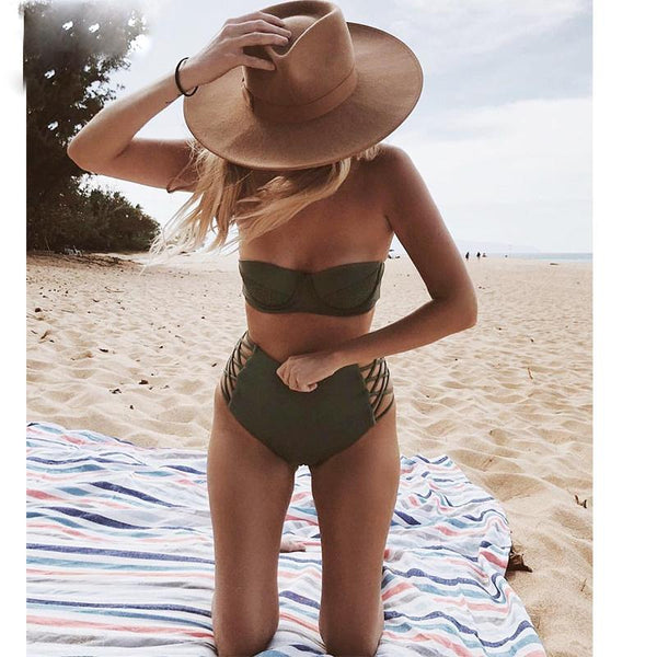 Army Green High Waisted Swimset