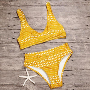 Mellow Yellow Dots Print Bikinis Set by Pesci Moda