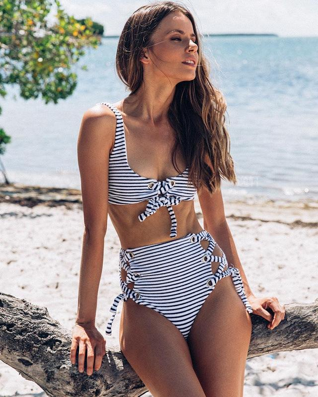 98d58431f4d21 ... Hottest Striped High Waisted Swimsuit by Pesci Moda ...