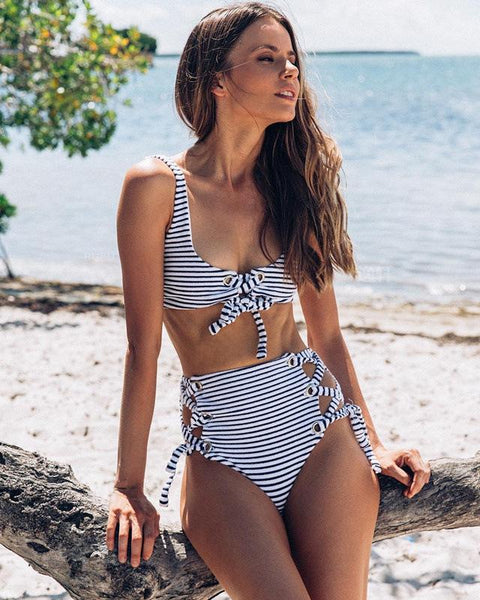 Hottest Striped High Waisted Swimsuit