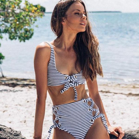 Hottest Striped High Waisted Swimsuit by Pesci Moda