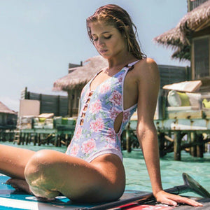 Pink Striped Cut Out Swimsuit