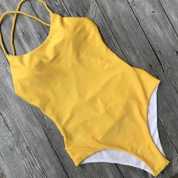 Awe-Inspire Beach Yellow Backless Swimsuit by Pesci Moda