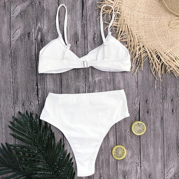 Summery Bow Knot High Waisted Swim Set