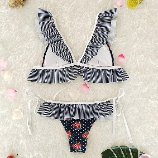 Retro Floral Striped Ruffled Bikini Sets