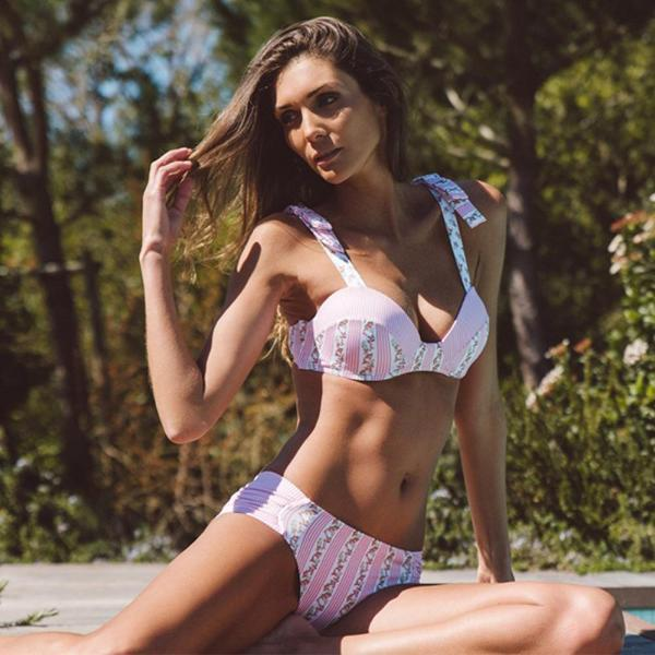Retro Striped Floral Push Up Bikini Set