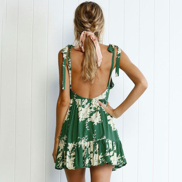 Green Floral Short Dress by Pesci Moda