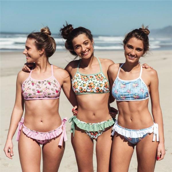 Blooming Floral High Neck Swim Set
