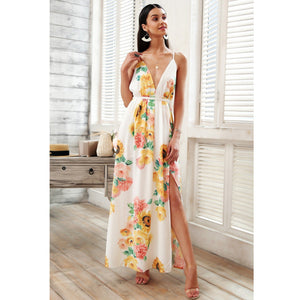 c610b03a386eb Beach Hot Backless Chiffon Floral Maxi Dress by Pesci Moda