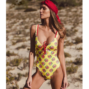 Deep Plunging Retro Floral Swimsuit by Pesci Moda