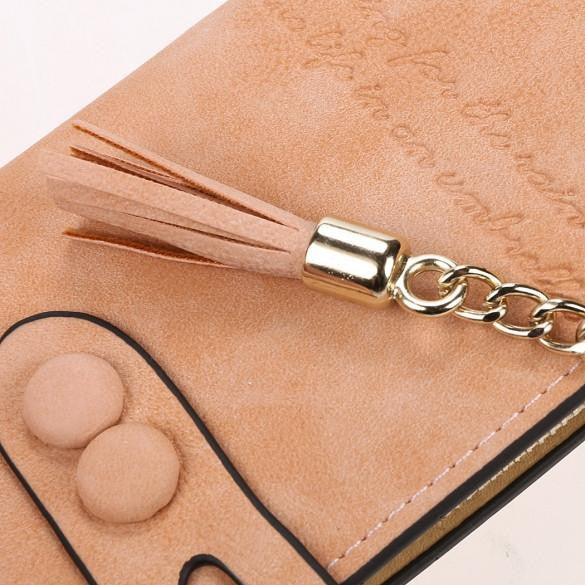 Leather Tassel Card Holder Wallet / Clutch by Pesci Moda
