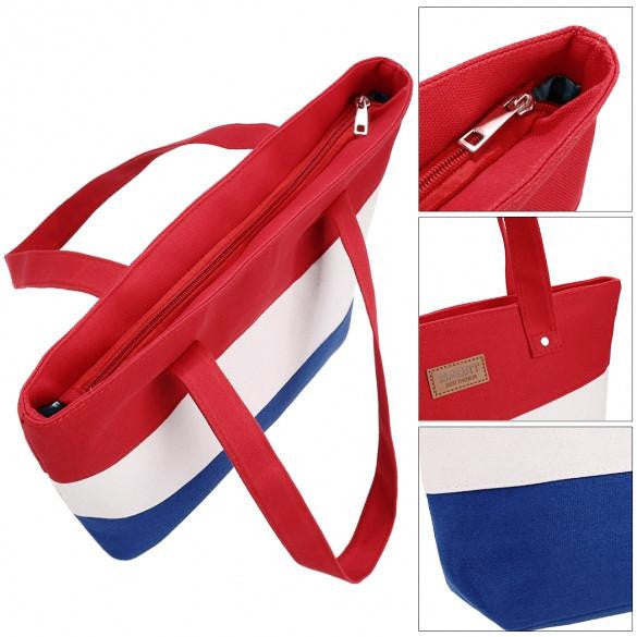 New Stylish Striped Color Contrast Handbag  - 7