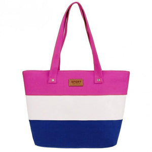 New Stylish Striped Color Contrast Handbag  - 4
