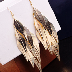 Golden Tone Leaves Earrings by Pesci Moda