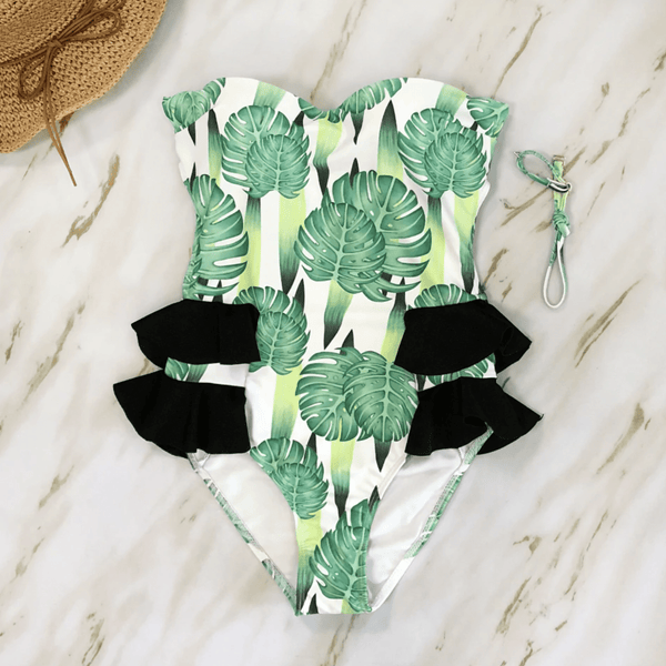 Tropical Palm Leaf Floral Swimwear