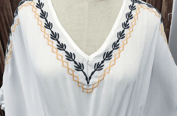 White Bat Sleeves Loose Beach Dress
