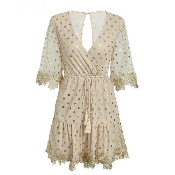 Beige Gold Dot Sequin Mini Dress