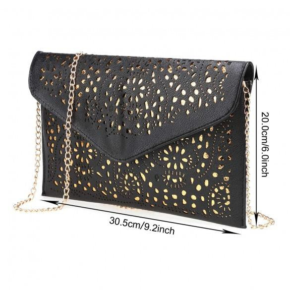 Women Gold Floral Shoulder Bag by Pesci Moda