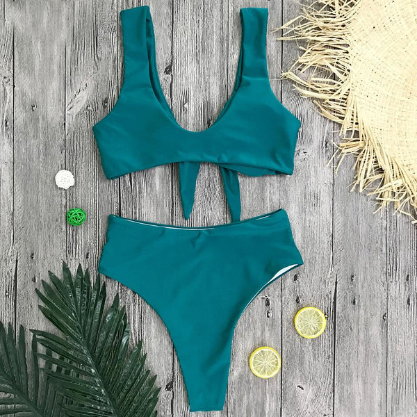 New Bow Knot High Waisted Swimsuit Set by Pesci Moda