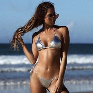 Newest Shiny Solid Bikinis Bathing Suit