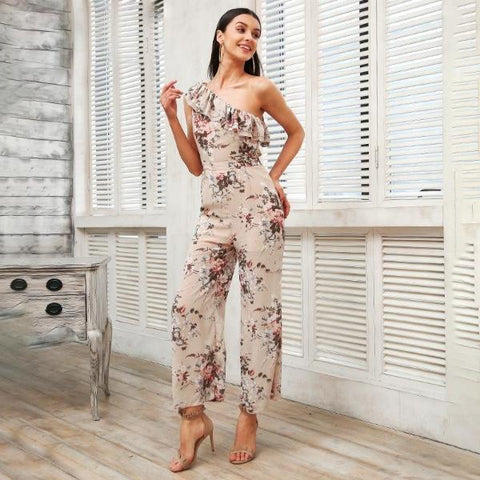 Boho Floral One Shoulder Jumpsuit by Pesci Moda