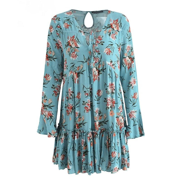 Long Sleeve Floral Loose Short Dress by Pesci Moda