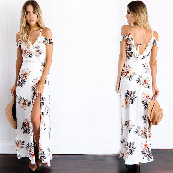 791db4c3805 Buy cheap Summer Style Women s Chiffon White Floral Maxi Dress ...