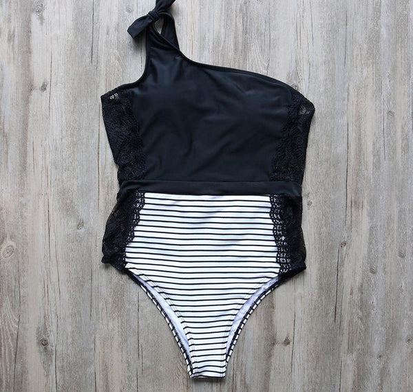 Black Lace Stripe One Shoulder Swimsuit