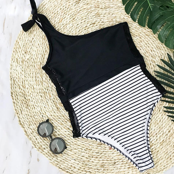 Black Lace Stripe One Shoulder Swimsuit by Pesci Moda