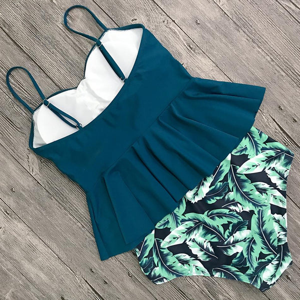 Dark Green Forest Tankini Swimsuit