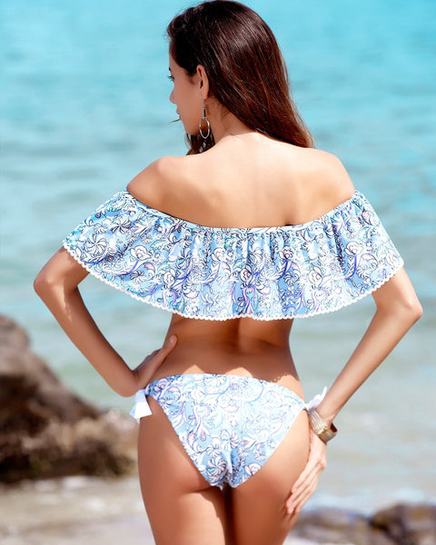 Blue Printed Off Shoulder Push Up Swimsuit by Pesci Moda