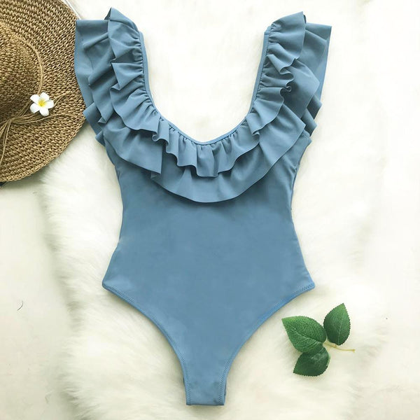 Sweetheart Blue Ruffle Beach Swimwear
