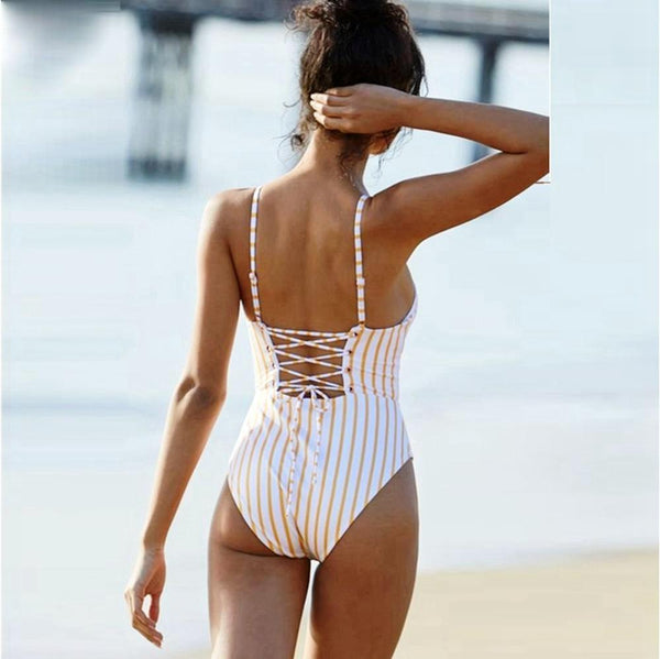 Yellow Stripped Monokini Swimsuit