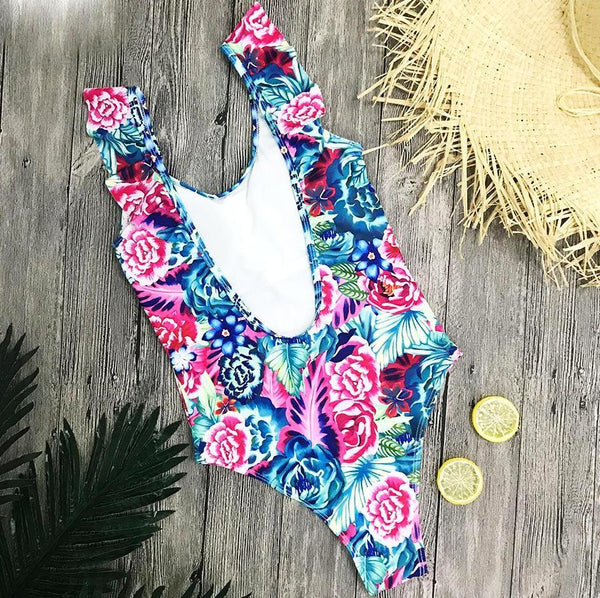 Hot Pink Floral Monokini Swimsuit by Pesci Moda