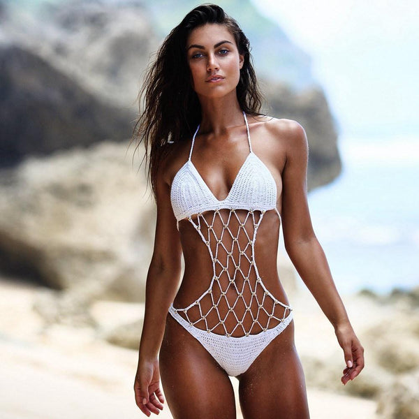 Crochet Halter One Piece Swimsuit by Pesci Moda