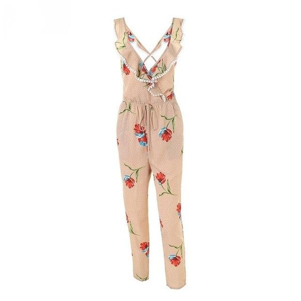 Boho Cross Back Floral Long Jumpsuit by Pesci Moda