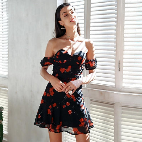 Black Off Shoulder Floral Short Dress by Pesci Moda