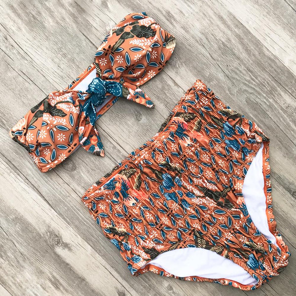 Boho Trendy Orange High Waisted Swimwear Set by Pesci Moda