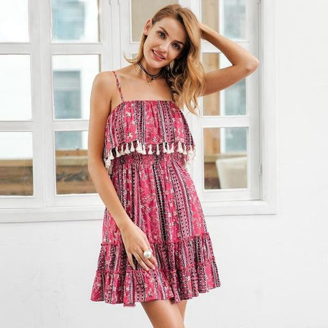 Ethnic Indie Folk Pink Casual Short Dress