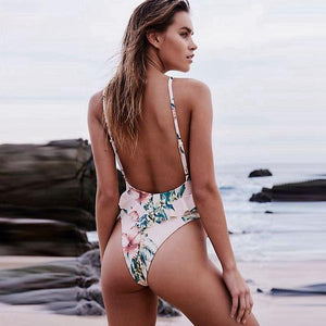 Majestic Floral Pink Backless Swimsuit by Pesci Moda