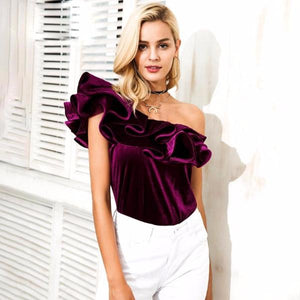 Burgundy Velvet One Shoulder Ruffle Blouse by Pesci Moda