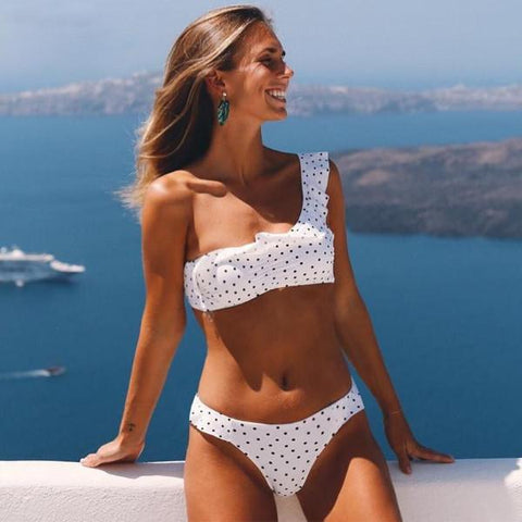 Ruffle One Shoulder Polka Dot Bikinis