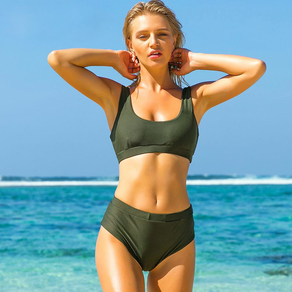 Swim Trend Solid Push Up Swimming Suit