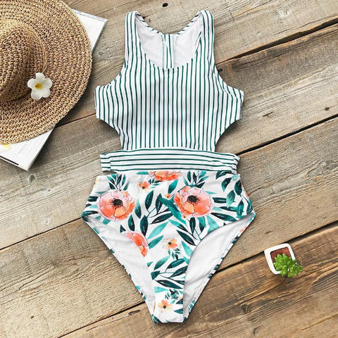 Green Striped Leafy Monokini Swimwear