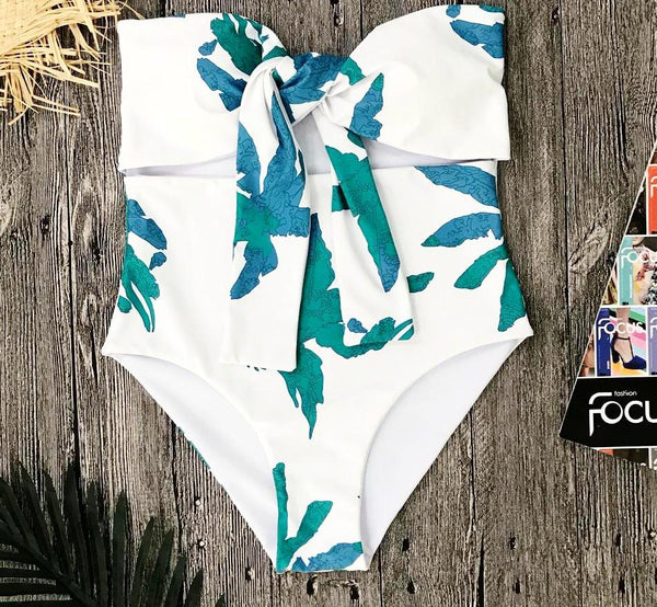 Leaf Print White Strapless Swimsuit by Pesci Moda
