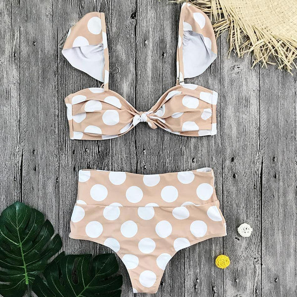 Polka Dot High Waisted Bathing Suit