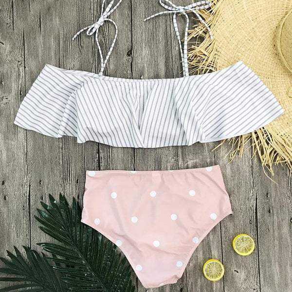 Vintage Beachwear Stripe Swimsuit