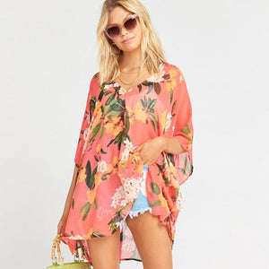 Pink Floral Bikini Cover Up